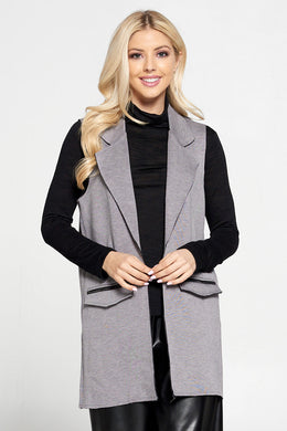 Sleeveless Blazer with Collar and Zipper Detailed Pockets