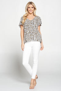Leopard Print V neck Top with Flutter Sleeves