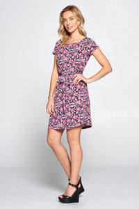 Paisley Floral Print Jersey Dress with Waist Tie