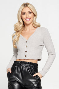 Gray Ribbed Knit Fitted Crop Top