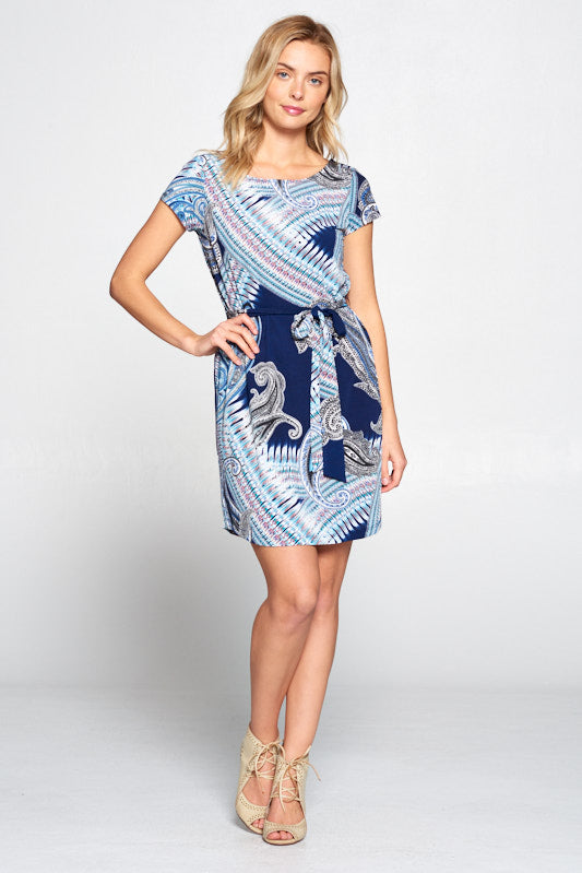 Paisley Print Knit Dress with Waist Tie