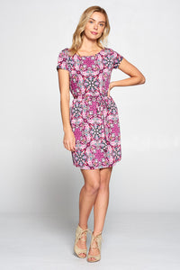 Medallion Print Knit Dress with Waist Tie