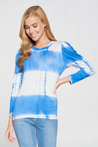 Tie Dye Top with Puff Sleeves