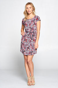Floral Print Jersey Dress with Waist Tie