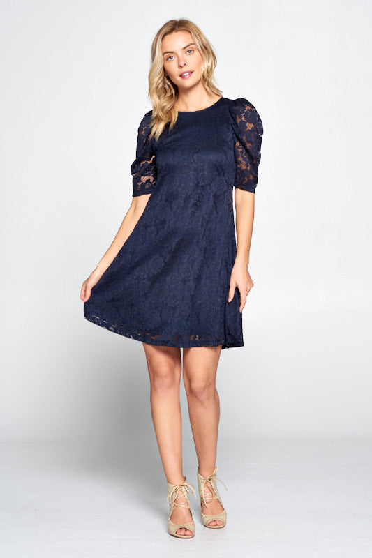 Lace Floral Dress with Puff Sleeve and Lining