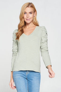 Ruched Sleeve V Neck Knit Top
