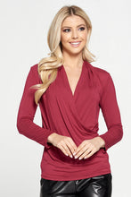 Bamboo Long Sleeve Surplice Solid Top