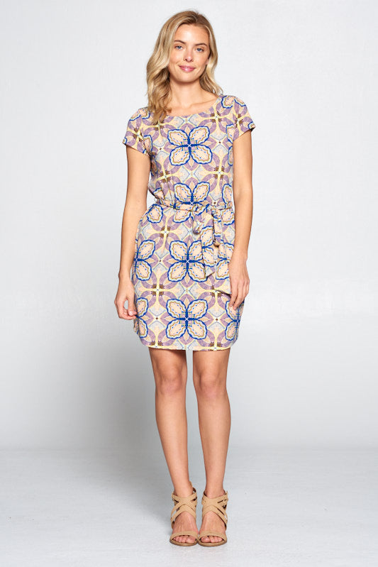 Short Sleeve Print Jersey Dress with removable Waist Tie