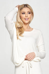 Round Neck Brushed Sweater Knit Top
