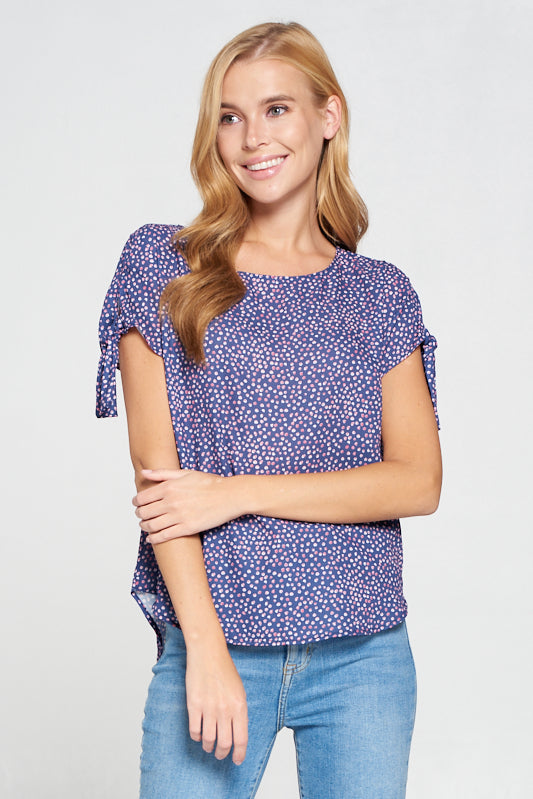 Abstract Polka Dot Top with Sleeve Tie