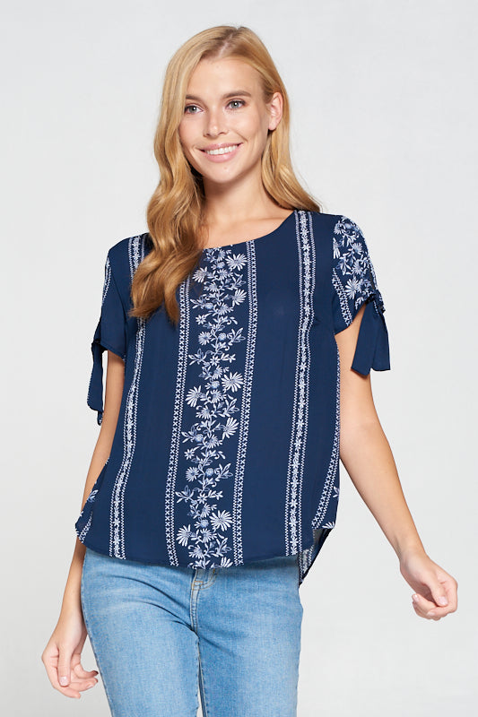 Navy Floral Paisley Print Top with Sleeve Tie