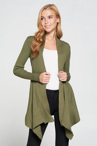 Super Soft Asymmetric Solid Rib Sweater Cardigan