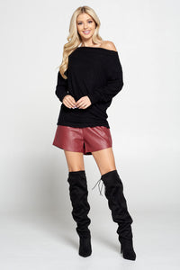 Burgundy Faux Leather Shorts