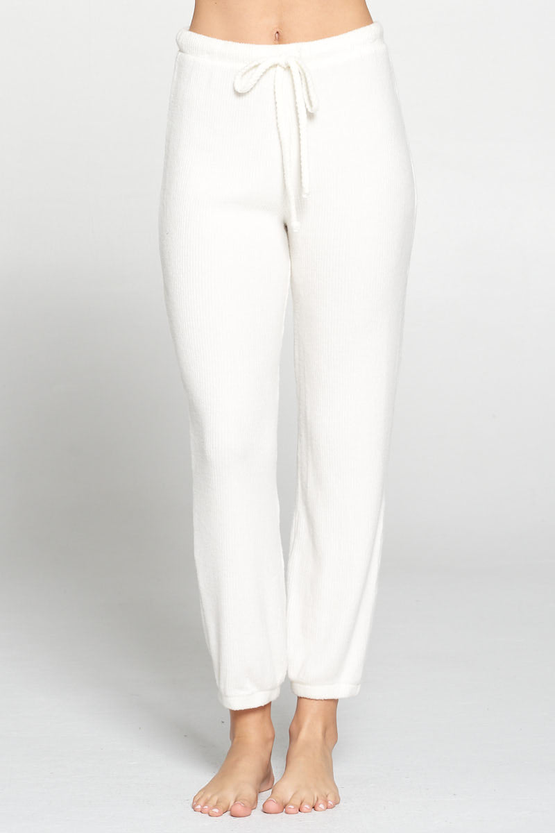 Soft Brushed Rib Drawstring Waist Lounge Pants