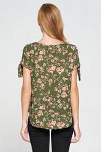 Floral Short Sleeve Top with Sleeve Tie