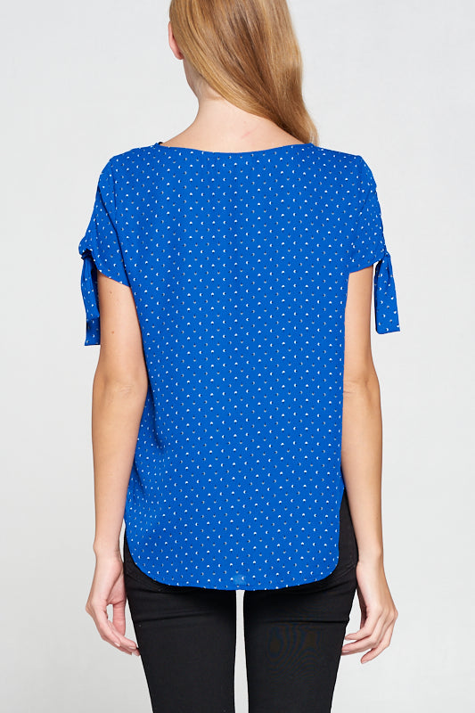Polka Dot Short Sleeve Top with Sleeve Tie