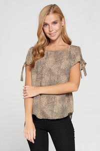 Animal Print Boat Neck Top with Sleeve Tie