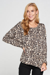 Leopard Print Long Sleeve Pull Over Knit Top