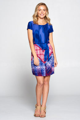 Boho Abstract Print Dress with Waist Tie