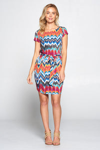 Abstract Tie-dye Dress with Tie