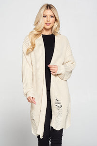 Long Distressed Sweater Cardigan