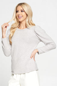 Round Neck Brushed Knit Top with Puff Sleeve