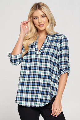 Plaid V-neck Top with Buttoned Cuffs