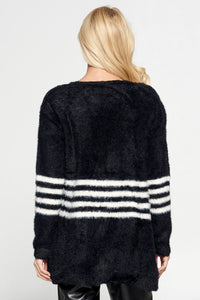Black Sweater Cardigan with Ivory Stripes