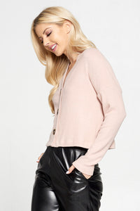Pink Ribbed Knit Flowy Top with Buttons