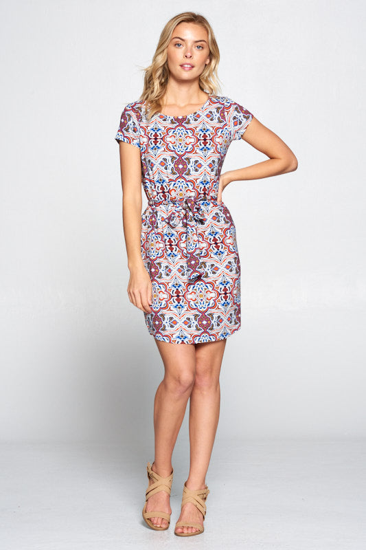 Multi Color Print Knit Dress with Waist Tie