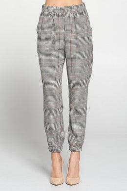 Plaid Woven Jogger with Side Pocket