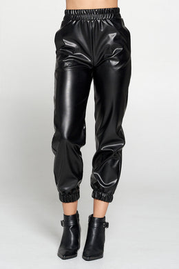 Black Faux Leather Pants with Pockets