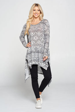 Hi Lo Knit Tunic with Long Sleeve and Side Slits