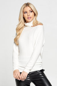 Ivory Cold Shoulder Turtleneck Top