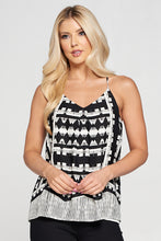 Geo Border Print V-neck Top