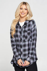 Plaid Long Sleeve Buttoned Top