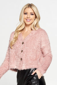 Pink Fuzzy Flowy Top with Buttons