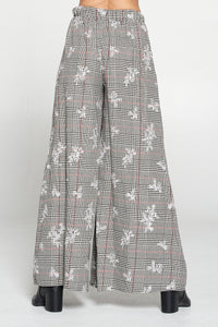 Glen Plaid Wide Leg Pants