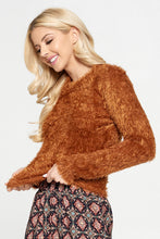 Rust Fuzzy Long Sleeve Top