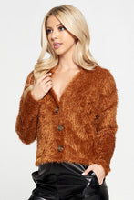 Rust Fuzzy Flowy Top with Buttons