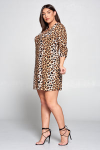 LEOPARD PRINT V-NECK DRESS WITH SCRUNCHED SLEEVES