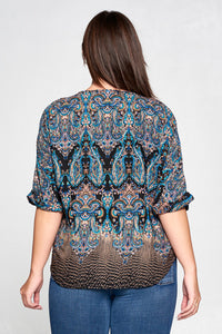 PAISLEY V-NECK TASSEL TOP - PLUS SIZE