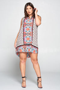SLEEVELESS SCARF PRINT DRESS - PLUS SIZE
