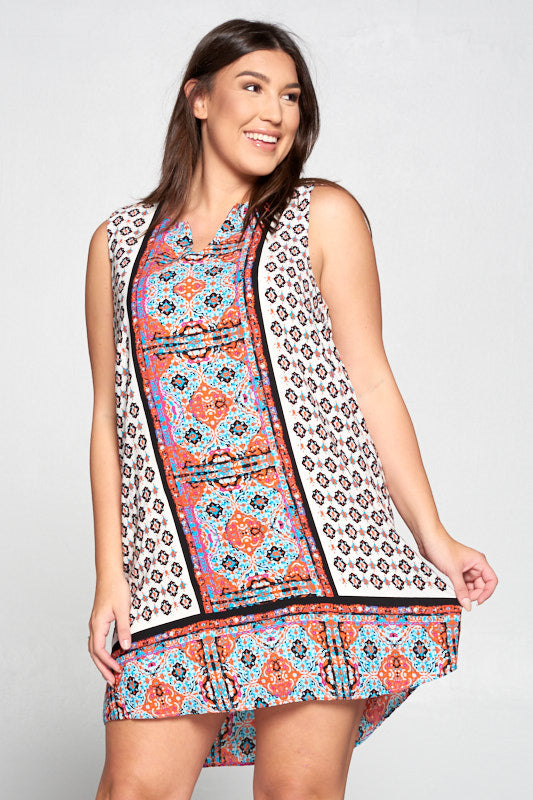 Scarf Print Sleeveless Dress