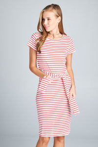 SHORT SLEEVE STRIPED MID DRESS