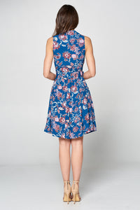 PRINT SLEEVELESS DRESS WITH COLLAR AND BELT