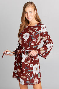 FLORAL BELL SLEEVE DRESS WITH BELT