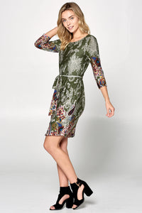 Olive Paisley Print Dress with Waist Tie