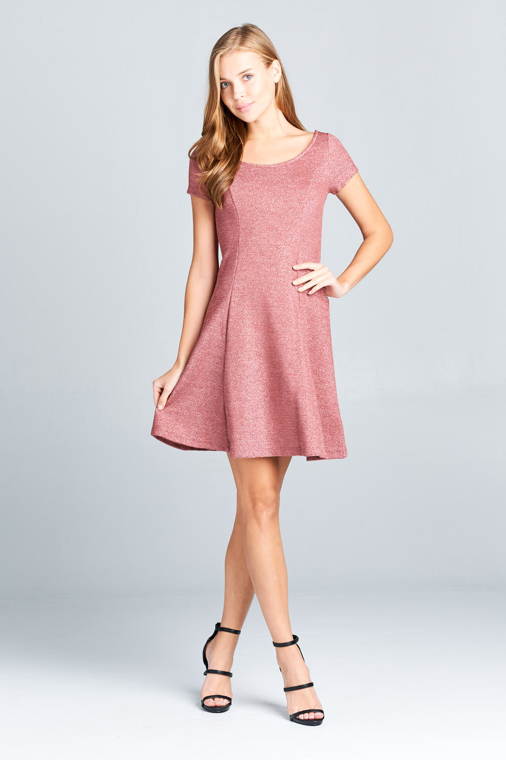 SHIMMERY SHORT SLEEVE LINE DRESS