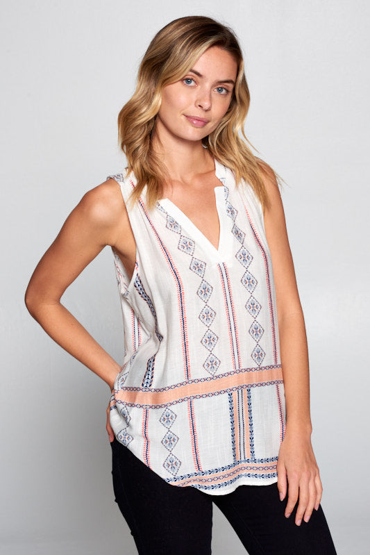 Ivory Boho Sleeveless V-neck Top